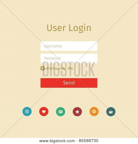 User Login Page With Icons