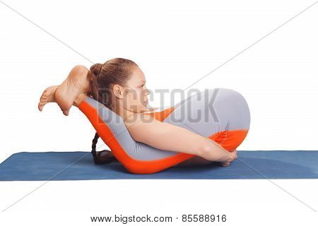 Young  Yoga Woman Posing On A White Studio Background