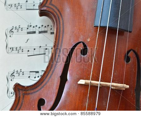 German Ancient Violin And Notes.