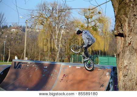 Young Man Jumps With His Bmx Bicycle,