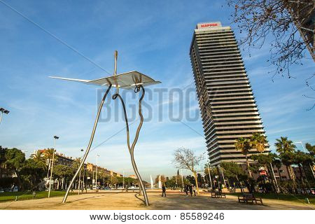 BARCELONA, SPAIN - CIRCA DEC, 2014: Architecture and art-objects at the Olympic Harbour. Located east of the Port of Barcelona, it hosted the sailing events for the 1992 Summer Olympics.