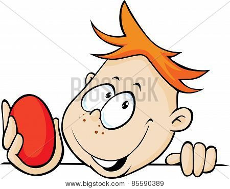 Boy Holding Red Egg In Hand, Peeking Out - Vector Illustration