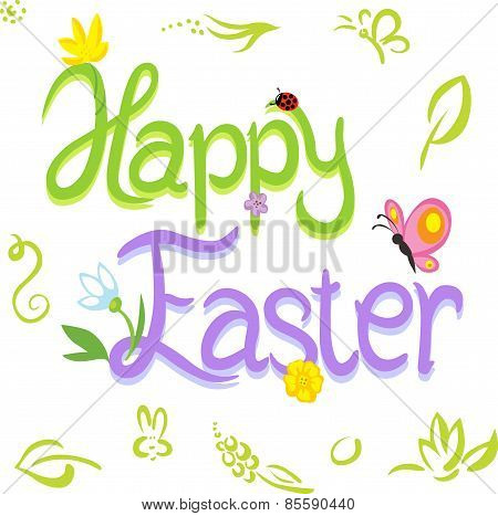 Happy Easter Calligraphy Text With Spring Design Element - Vector Illustration