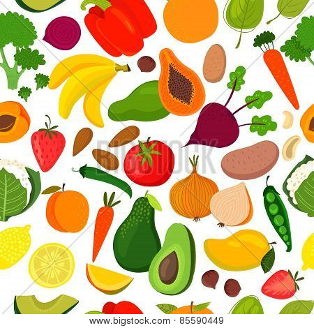 Bright Tasty Seamless Pattern With Banana, Mango, Papaya, Orange, Lemon, Strawberry, Avocado,peach,s