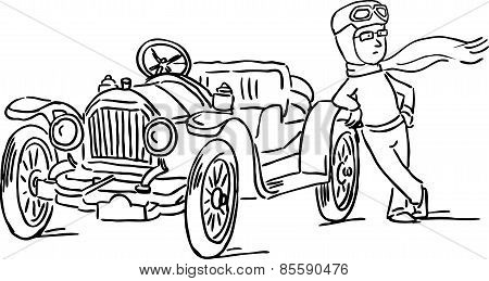 Man Relies On His Car, Veteran - Black Line Vector Illustration