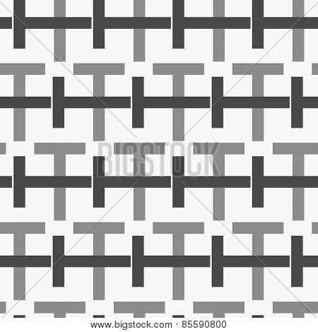 Monochrome Pattern With Black And Gray Intersecting T Shapes