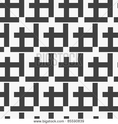 Monochrome Pattern With Black Diagonal W Shapes