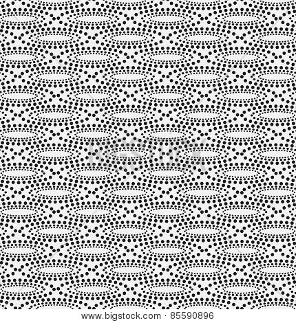 Monochrome Pattern With Dotted Concentric Ovals And Dotted Grid