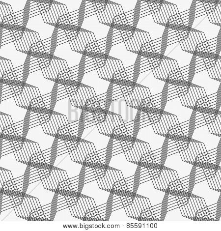 Monochrome Pattern With Intersecting Thin Lines Forming Stars On Gray