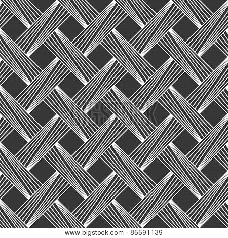 Monochrome Pattern With Light Gray Diagonally Striped Lattice