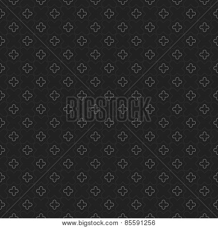 Monochrome Pattern With Rounded Crosses On Dark Gray