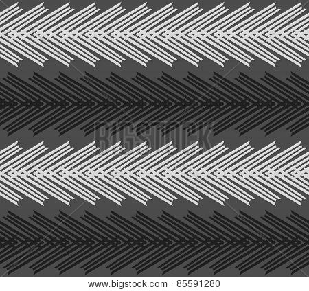 Monochrome Pattern With Striped White And Black Chevron On Dark Gray