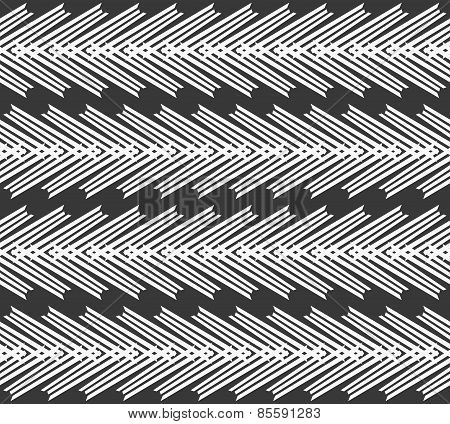 Monochrome Pattern With Striped White Chevron On Dark Gray
