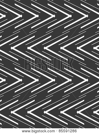 Monochrome Pattern With Striped White Slim And Thick Chevrons