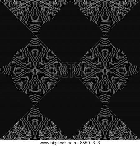 Monochrome Pattern With Wavy Guilloche Squares