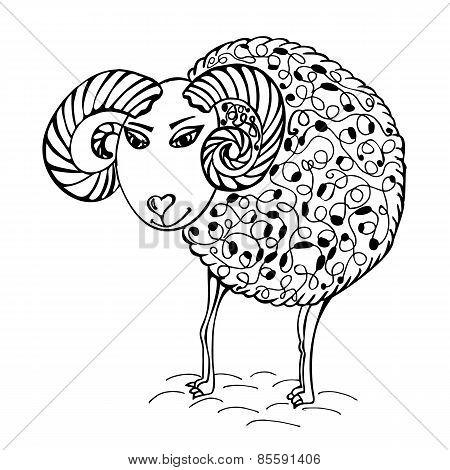 hand drawn abstract sheep