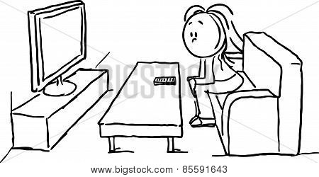 Women Watching Television - Black Line Vector Illustration