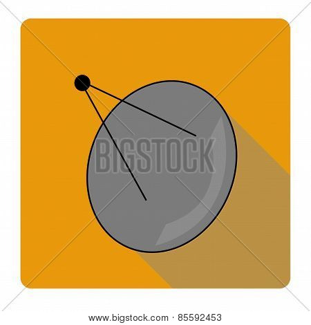 Icon flat parabolic antenna. Abstract antenna on an orange background