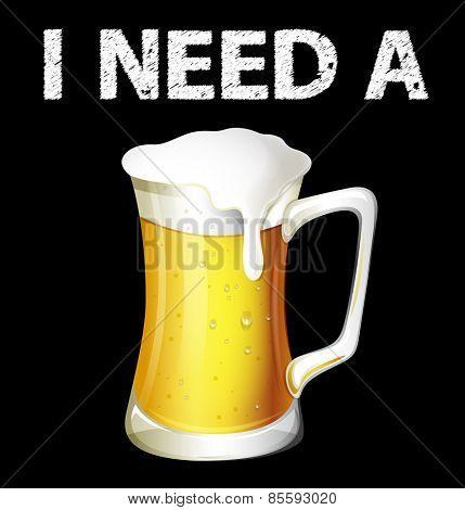 Single jar of cold beer on black background