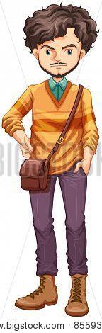 Close up hipster man with a bag