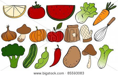 Different kind of fruits and vegetables