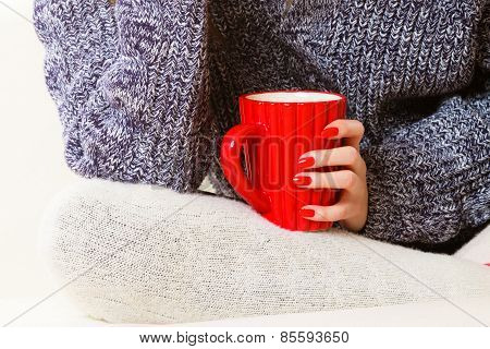 Closeup Female Hand Holding Red Mug Hot Drink