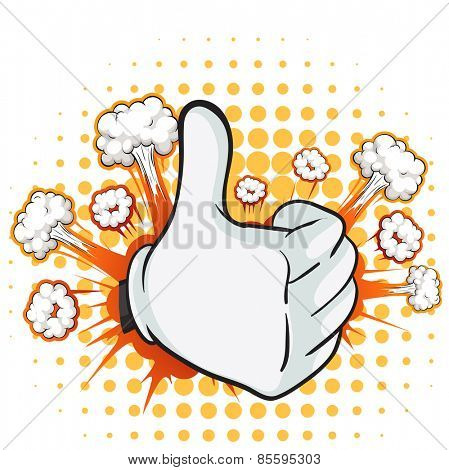 Thumb up expression with cloud explosion background