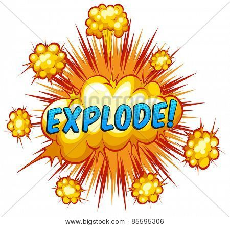 Word explode with cloud explosion background