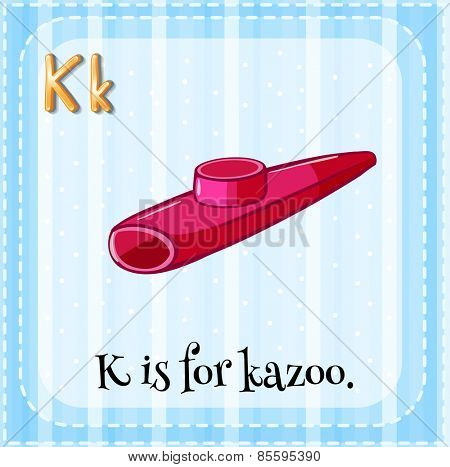 Flash card letter K is for kazoo