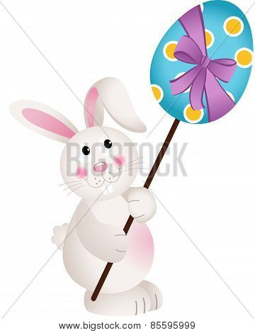 Cute Bunny Carries Easter Egg