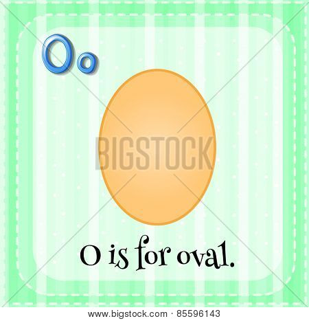 Flash card letter O is for oval