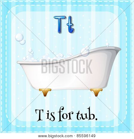 Flash card letter T is for tub