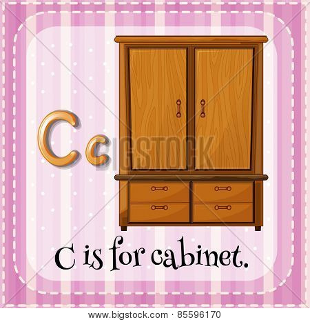 Flash card letter C is for cabinet