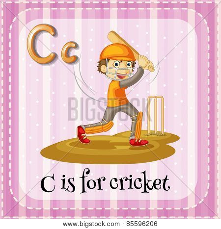Flash card letter C is for cricket