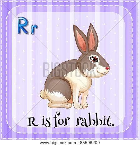 Flash card letter R is for rabbit