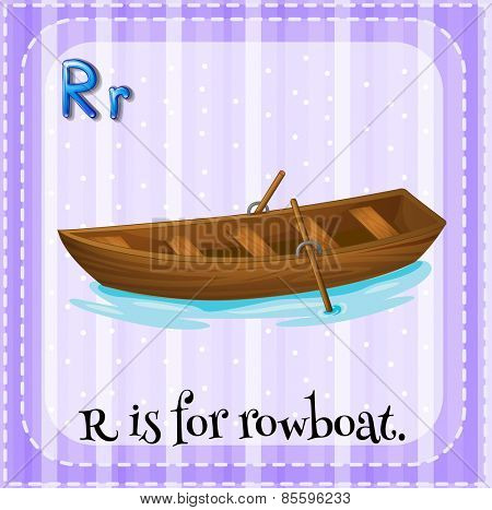 Flash card letter R is for rowboat