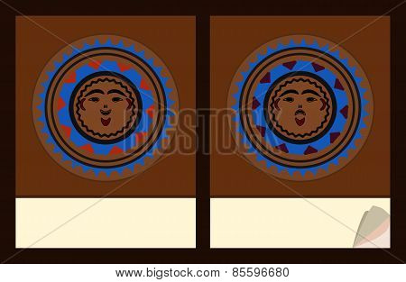 Notepad cover templates with native american masks motive