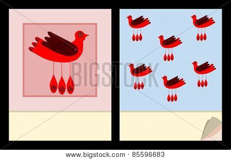 Notepad cover templates with red bird