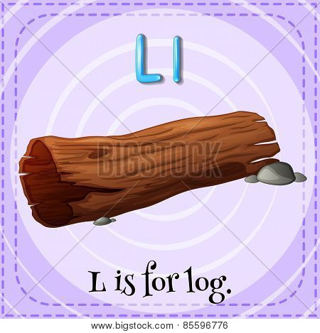 Flash card letter L is for log