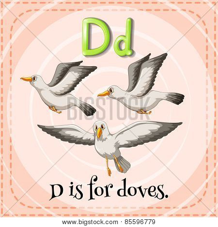 Flash card letter is for doves