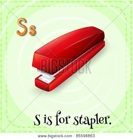 Flash card letter S is for stapler