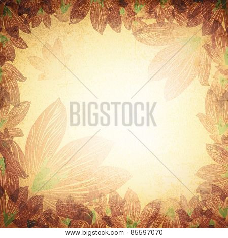 Vintage Grunge Floral Background