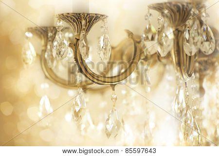 Vintage crystal chandelier details