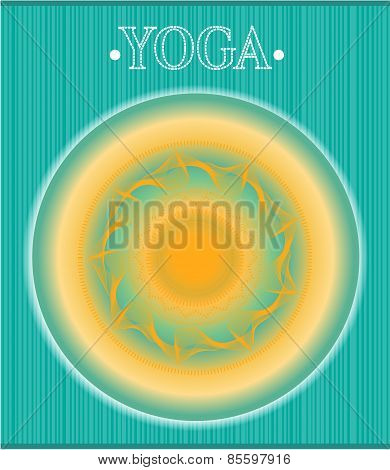 Abstract yellow, blue backdrop with huge sun and text Yoga