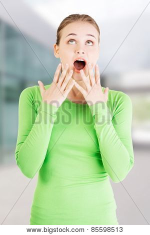 Attractive young woman in a shock