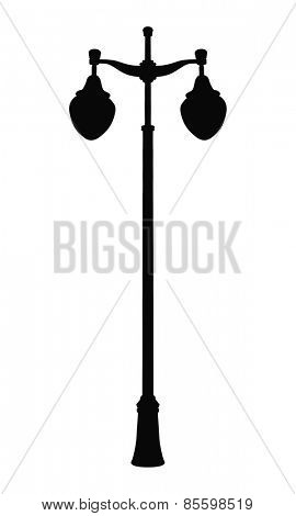 Lantern for Street. Black Silhouette. Isolated on White Background. Vector Illustration