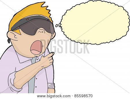 Isolated Man Thinking About Virtual Reality.