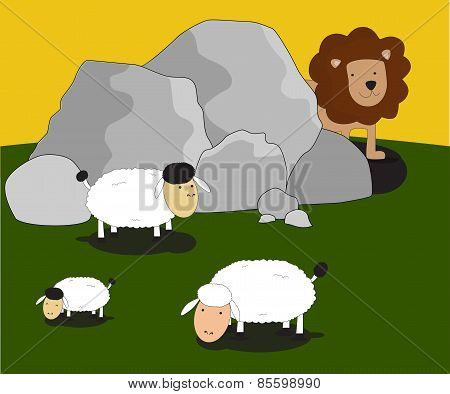 Vector Animal Lion Hidding Behind Rocks Looking Sheep Lamb
