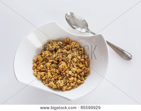 Bowl Of Organic Granola With Spoon
