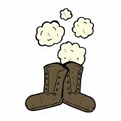 stock photo of work boots  - dusty old work boots cartoon - JPG